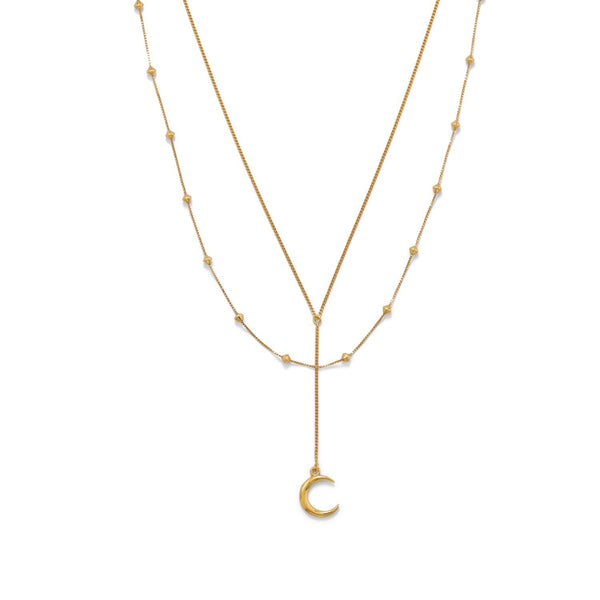 "16""+2 14 Karat Gold Double Strand Moon Necklace - deelytes-com"