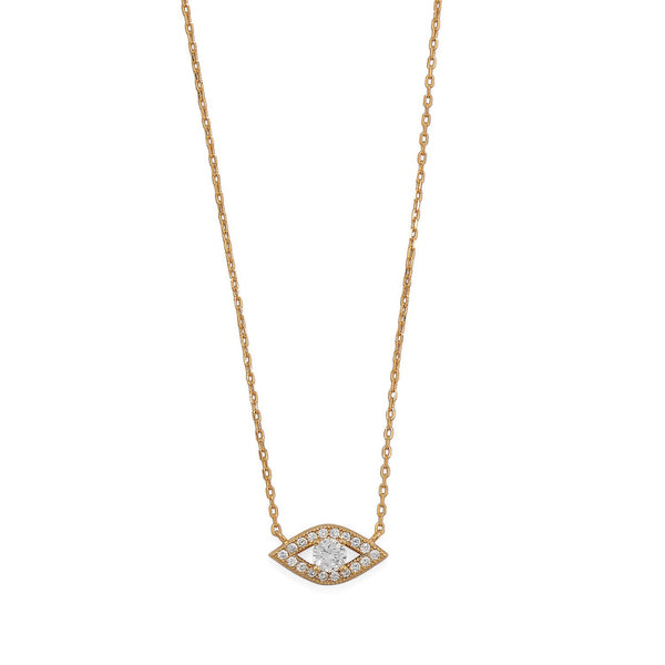 "16""+2 14 Karat Gold CZ Evil Eye Necklace - deelytes-com"