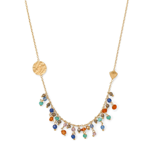 14K Gold-Plated Colorful Beaded Drop And Coin Chain Necklace Necklaces
