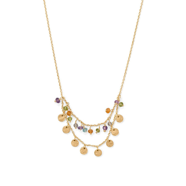 14K Gold Plated Multistone Disks Adjustable Necklace Necklaces