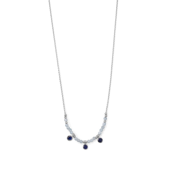 Sterling Silver Aquamarine And Blue Quartz Bead Necklace Necklaces