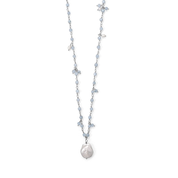 Sterling Silver Aquamarine And Cultured Freshwater Pearl Drop Necklace Necklaces