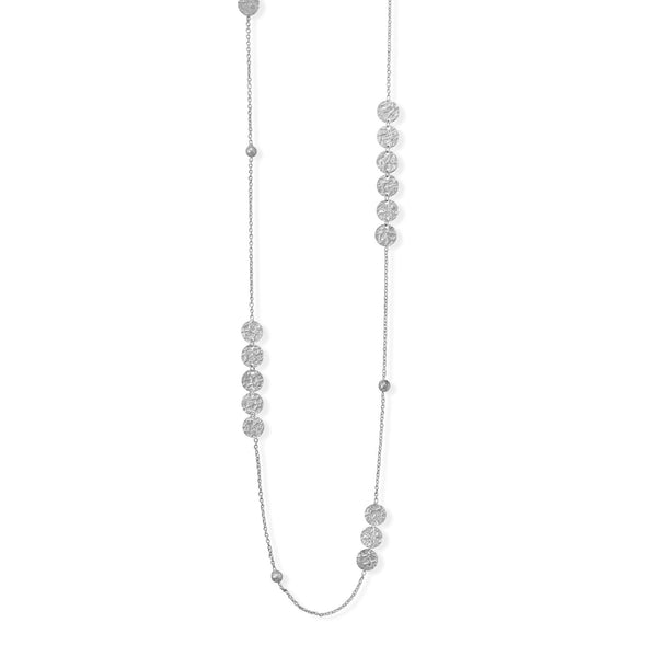 Sterling Silver 36-Inch Length Textured Disk And Bead Necklace Necklaces