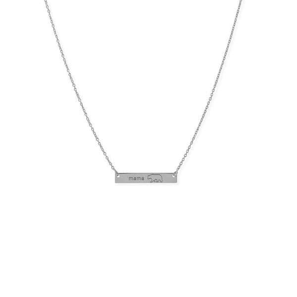 "Sterling Silver ""Mama Bear"" Bar  Adjustable Necklace - deelytes-com"
