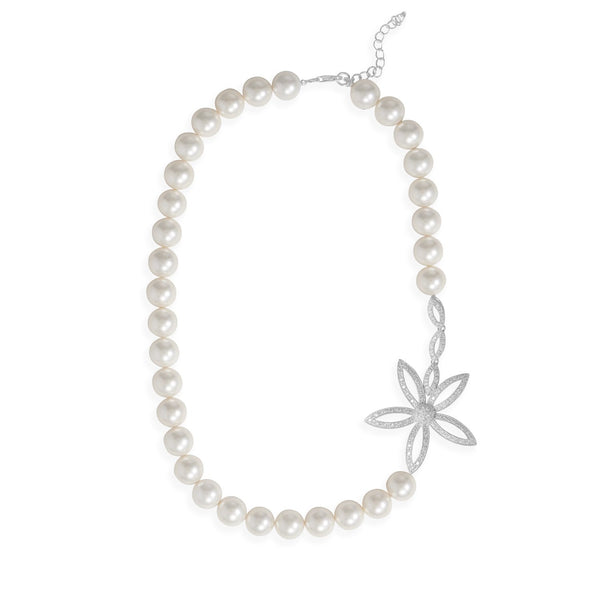 Sterling Silver Mother of Pearl and CZ Daisy Necklace - deelytes-com