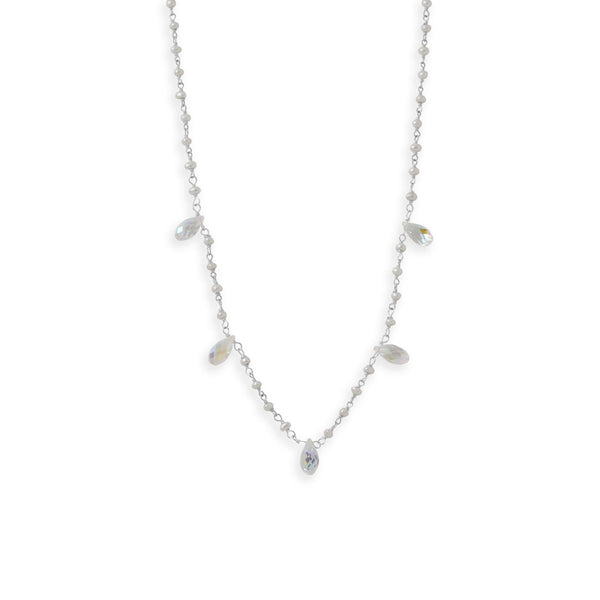 Cultured Freshwater and Crystal Pearl Necklace - deelytes-com