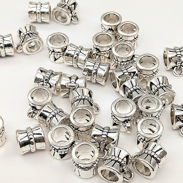 50 Pcs Shiny Silver Charm Hanger Link Bail Beads 10x7.5x7mm Hole: 5mm USA Seller - deelytes-com