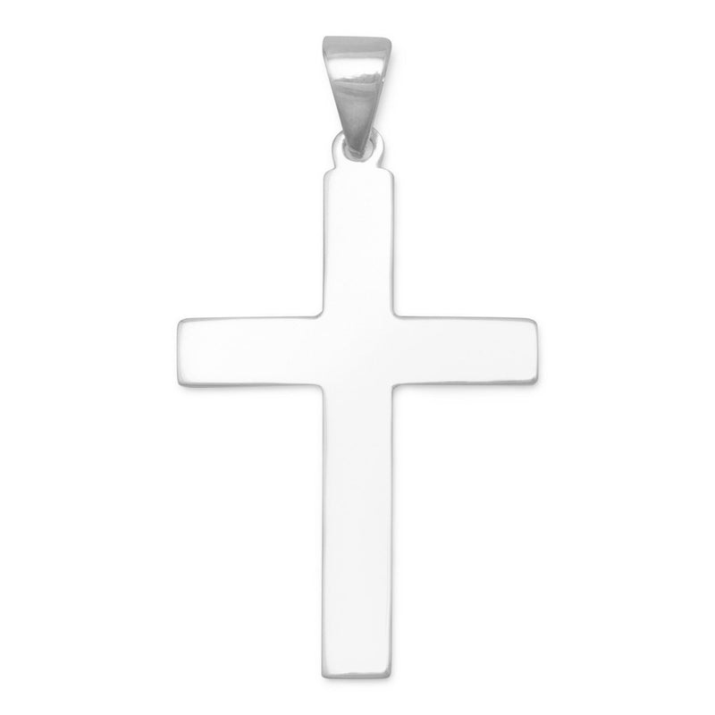 Sterling Silver Plain Cross Pendant - deelytes-com