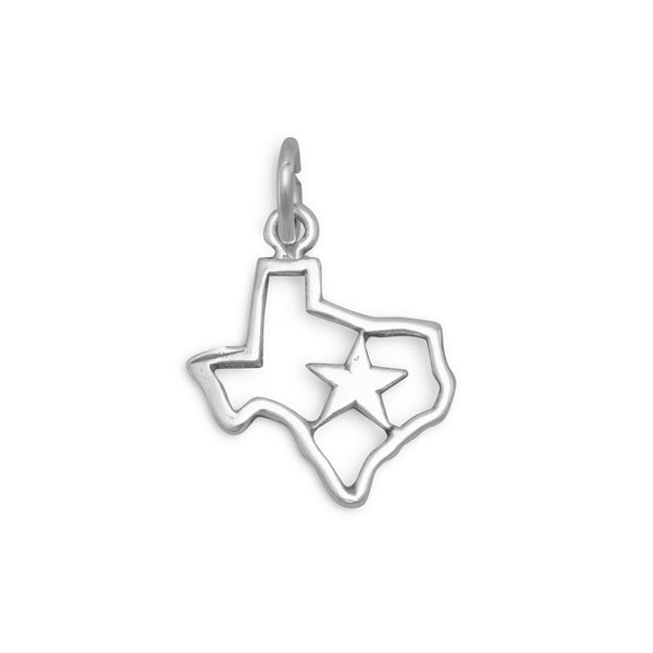 Texas with Star Sterling Silver Charm - deelytes-com