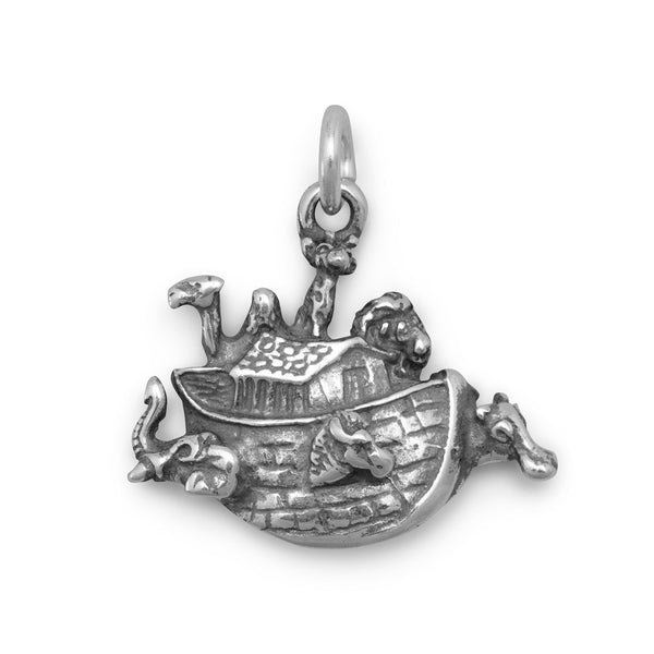 Small Noah's Ark Sterling Silver Charm - deelytes-com