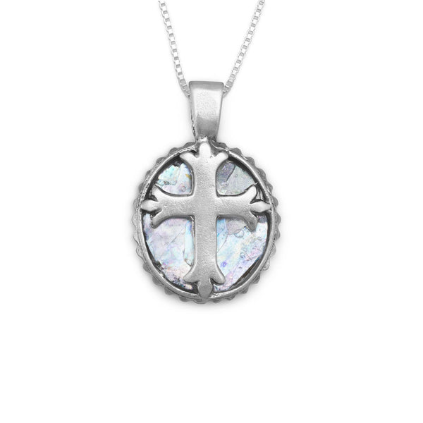 Oval Roman Glass Sterling Silver Cross Necklace - deelytes-com