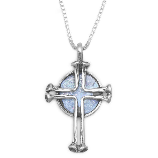 Round Ancient Roman Glass with Cross Sterling Silver Necklace - deelytes-com