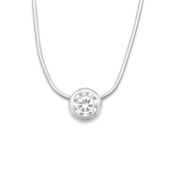Sterling Silver Bezel Set CZ Slide and Necklace - deelytes-com