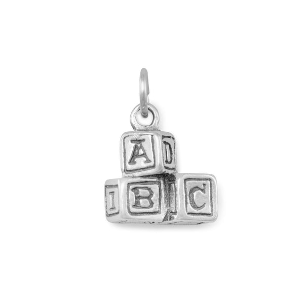 ABC Blocks Charm Sterling Silver - deelytes-com