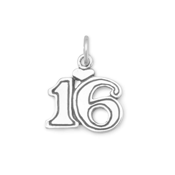 Sweet 16 Sterling Silver Charm - deelytes-com