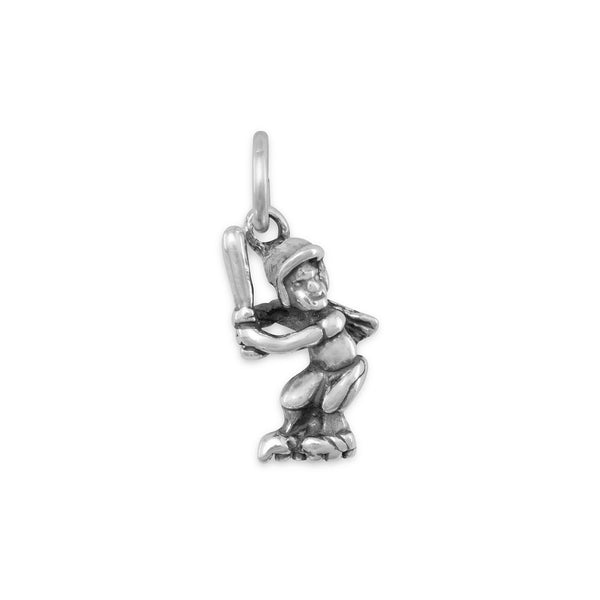 Girl Softball Player Sterling Silver Charm - deelytes-com