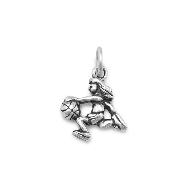 Girl Basketball Sterling Silver Player Charm - deelytes-com