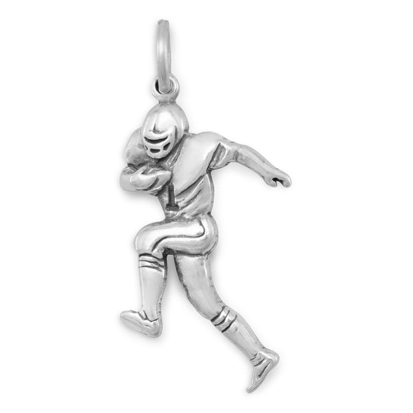 Football Player Sterling Silver Charm - deelytes-com
