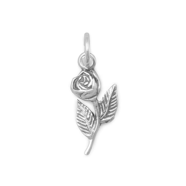 Rose with Stem Sterling Silver Charm - deelytes-com