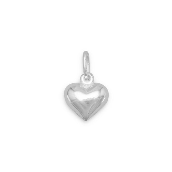 Puffed Heart Charm 925 Sterling Silver - deelytes-com