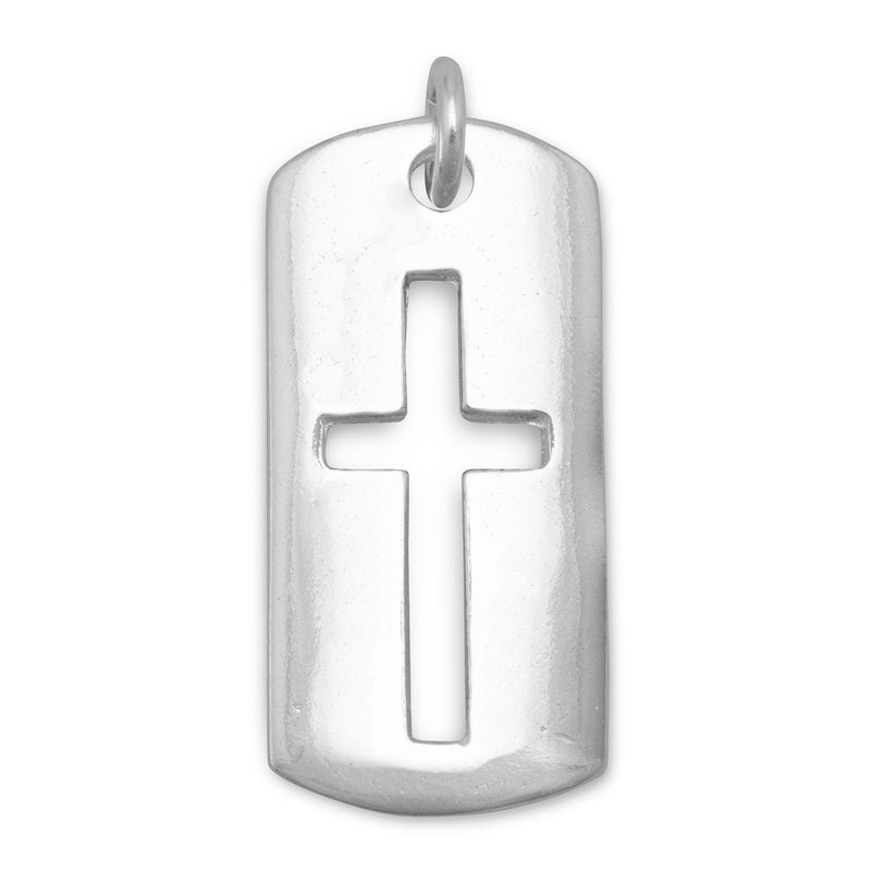 Rectangular Tag with Cut Out Cross Sterling Silver Pendant - deelytes-com