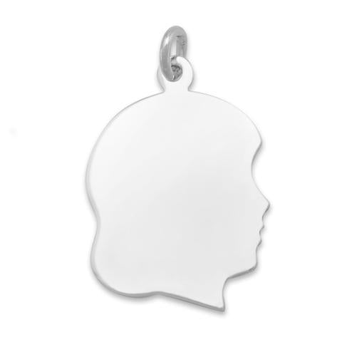 Girl Silhouette Charm - Engravable Sterling Silver - deelytes-com