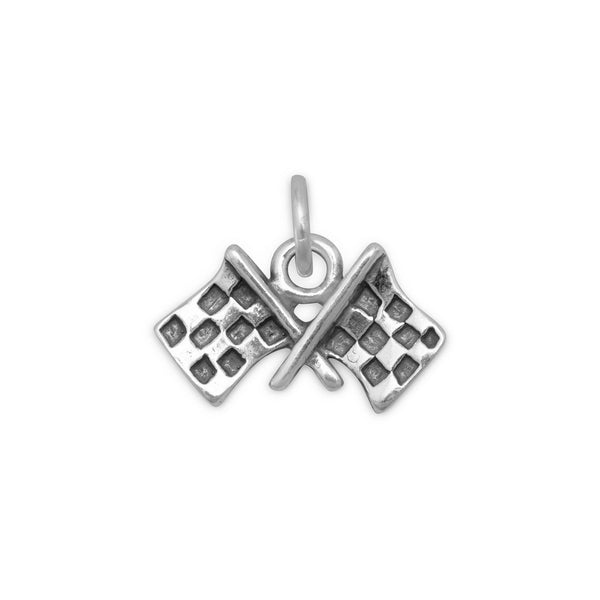 Checkered Flags Charm Sterling Silver - deelytes-com