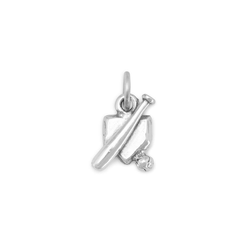 Home Plate with Bat and Ball Sterling Silver Charm - deelytes-com