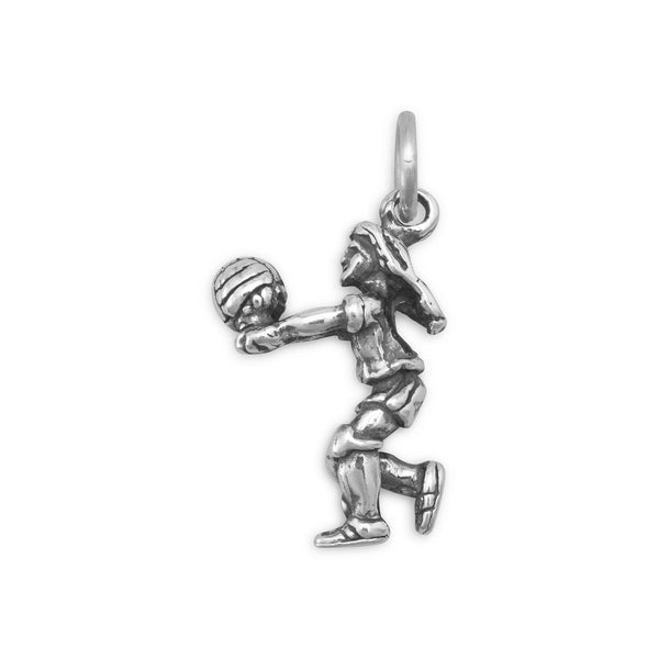 Girl Volleyball Player Sterling Silver Charm - deelytes-com