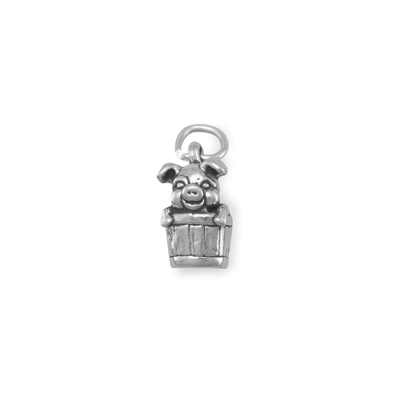 Pig in Bucket Sterling Silver Charm - deelytes-com