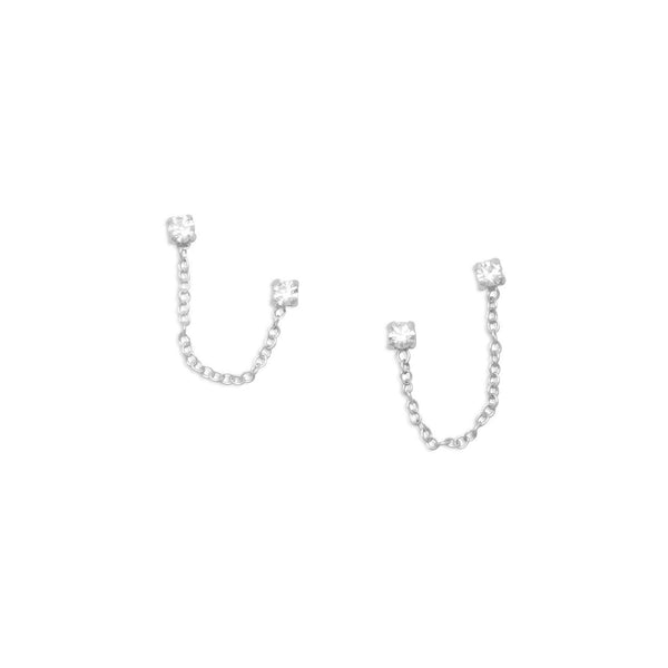Double Post Crystal Sterling Silver Earrings - deelytes-com