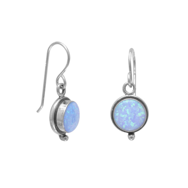Blue Opal Sterling Silver French Wire Earrings - deelytes-com