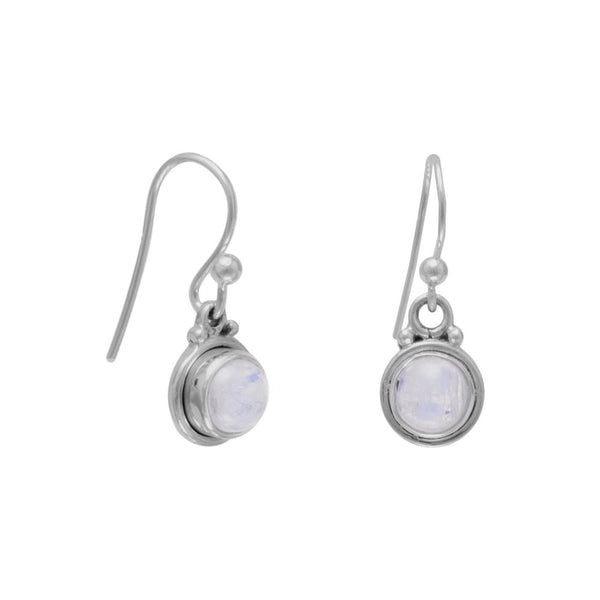 Round Moonstone Sterling Silver French Wire Earrings - deelytes-com