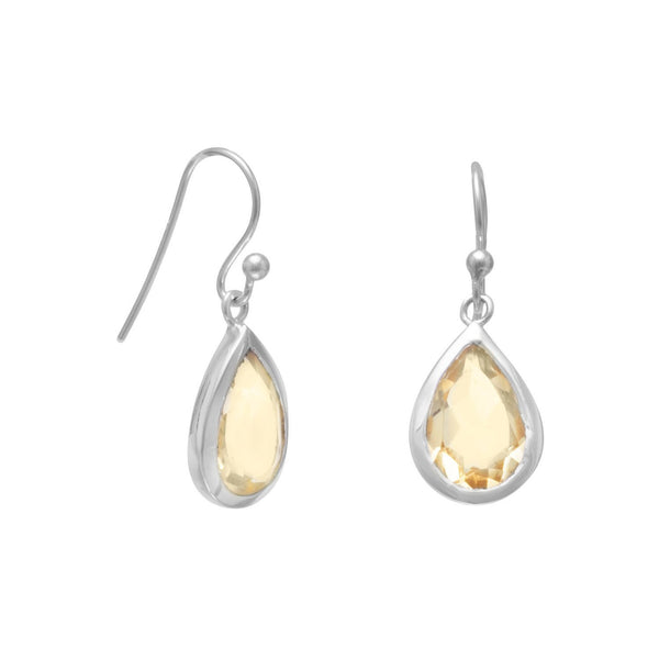 Faceted Citrine Sterling Silver Earrings - deelytes-com