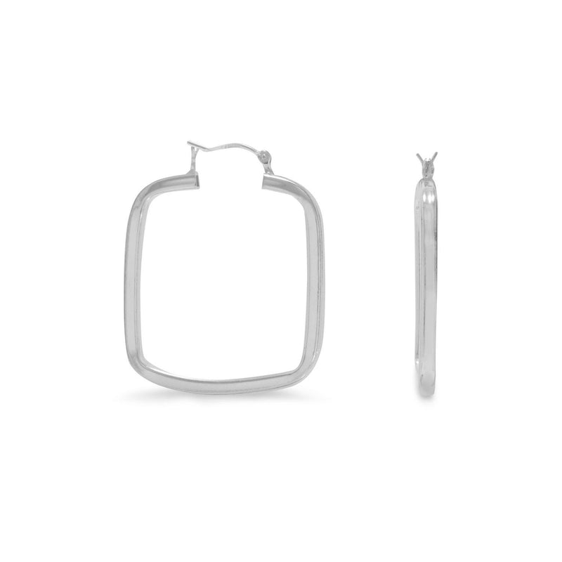 2mm x 29mm Sterling Silver Square Hoop Earrings - deelytes-com