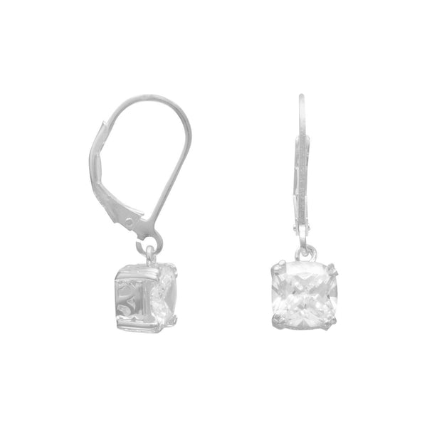 7mm Round Edge Square CZ Sterling Silver Lever Back Earrings - deelytes-com