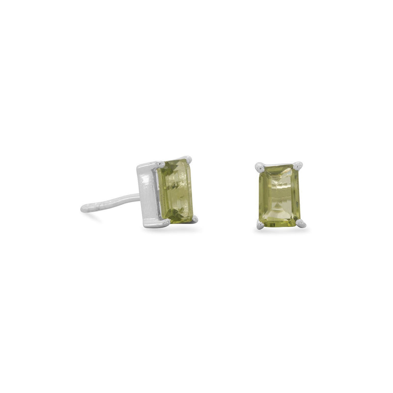 Emerald Cut Peridot Sterling Silver Post Earrings - deelytes-com