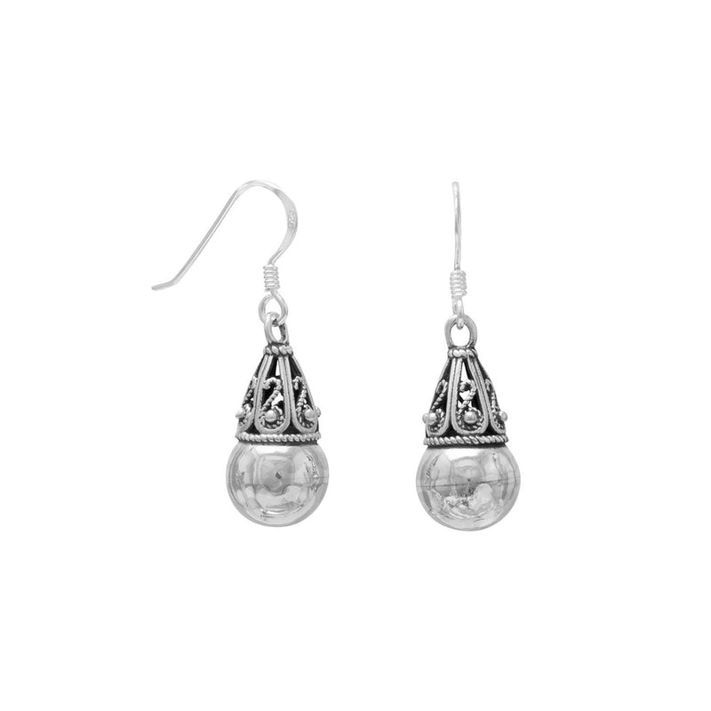 Sterling Silver Bead with Bali Cap French Wire Earrings - deelytes-com