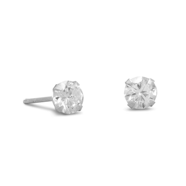 CZ Sterling Silver 5mm Stud Earrings - deelytes-com