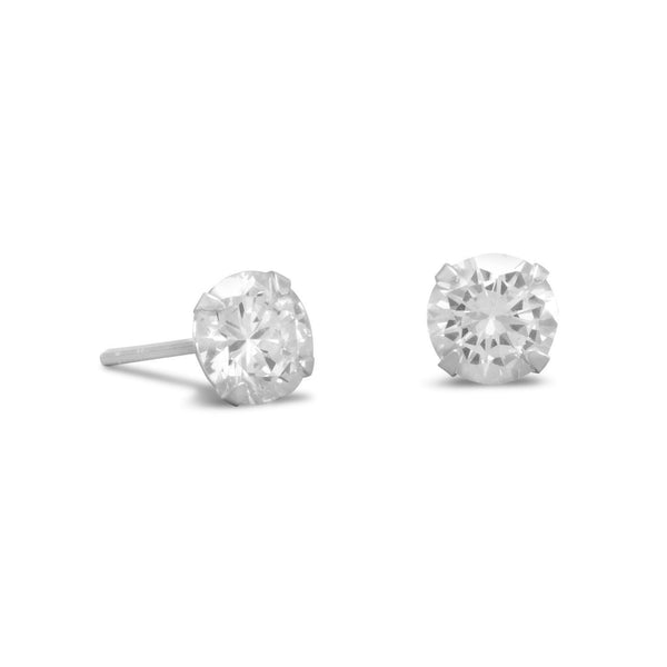 CZ Sterling Silver 7mm Stud Earrings - deelytes-com