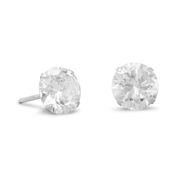 CZ Sterling Silver 8mm Stud Earrings - deelytes-com