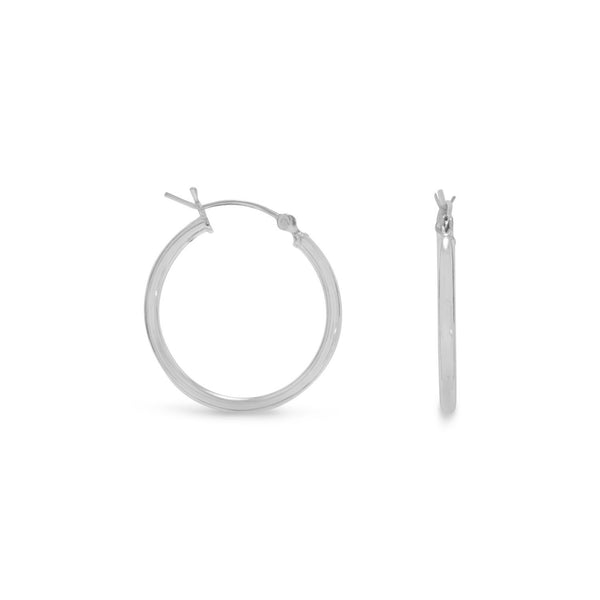 2mm x 24mm Sterling Silver Hoop Earrings with Click Closure - deelytes-com
