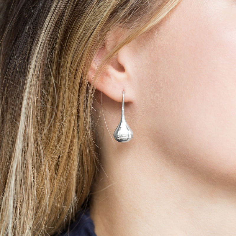 Polished Sterling Silver Raindrop Earrings - deelytes-com