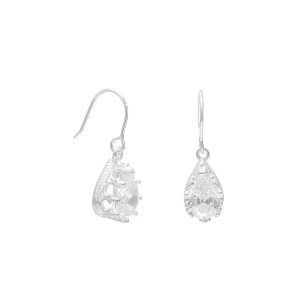 Pear Shape CZ Sterling Silver Crown Edge French Wire Earrings - deelytes-com