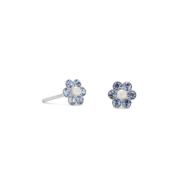 Sterling Silver Crystal and Pearl Flower Earrings - deelytes-com