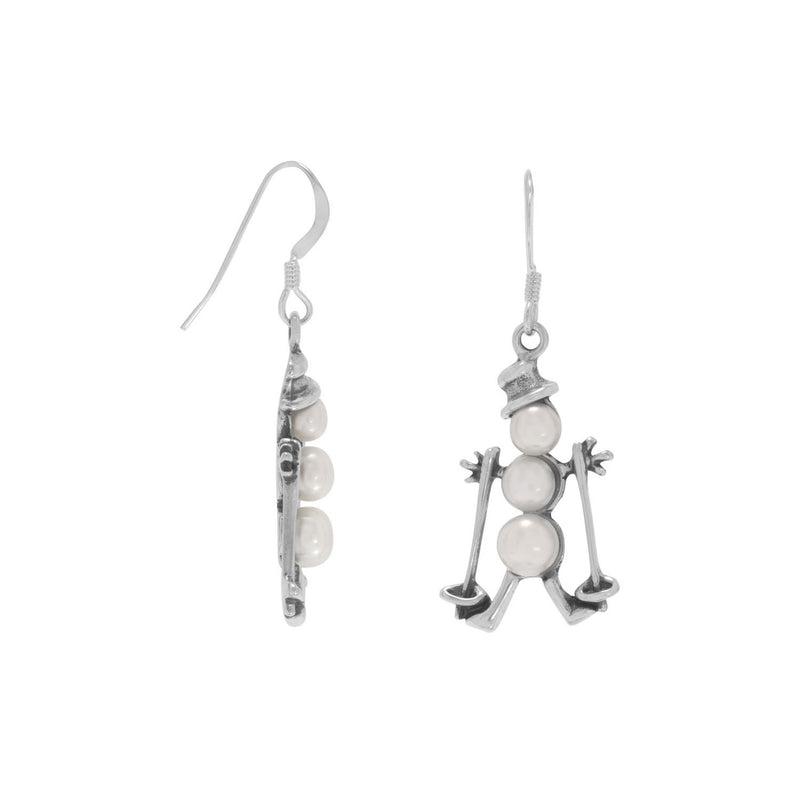 Cultured Freshwater Pearl Sterling Silver Skiing Snowman Earrings - deelytes-com
