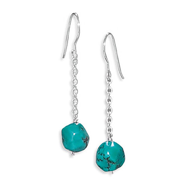 Reconstituted Turquoise Drop Earrings on French Wire - deelytes-com
