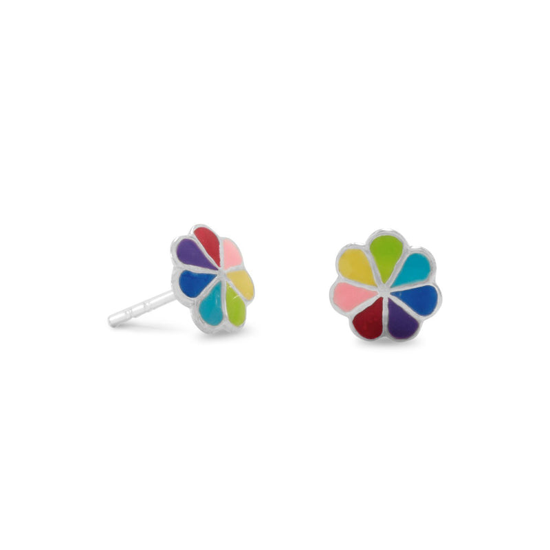 Multi-Color Enamel Flower Sterling Silver Post Earrings - deelytes-com
