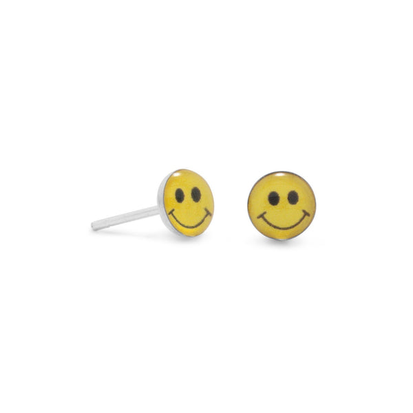 Sterling Silver Smiley Face Earrings - deelytes-com