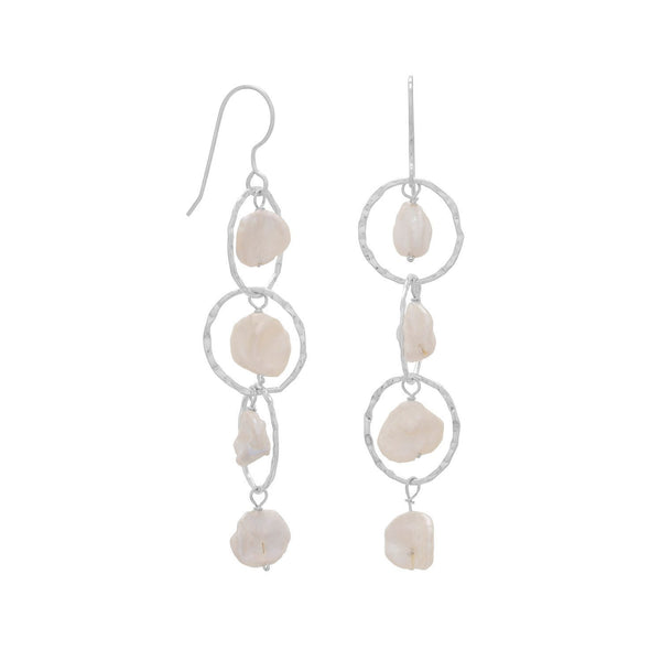 Open Circle Keshi Drop Sterling Silver French Wire Earrings - deelytes-com